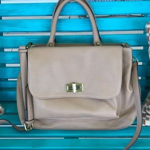 Merona Woman's Tan Shoulder Bag Faux Leather NEW